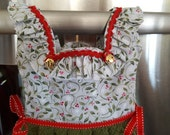 Holly and Bells Christmas Kitchen Oven Door Dress Towel with Ruffles