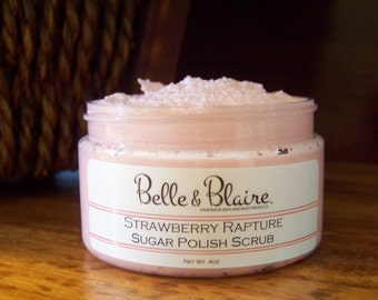 Strawberry Rapture Whipped Soap/Sugar Scrub- Strawberries, Vanilla, Jasmine, Bubble Gum, Violets- 4oz
