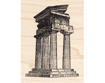 Ruins 972J Beeswax Rubber Stamps Architecture Unmounted Cling Mounted Stamp Building Stamping