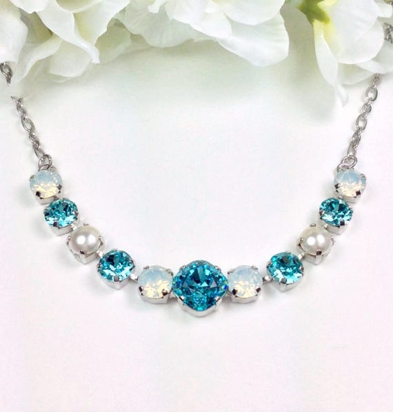 Swarovski Crystal Necklace  12MM/8.5mm -  Lt. Turquoise, White Opal, Creamy Pearls -  Sparkle & Shimmer - FREE SHIPPING