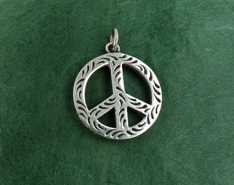 Sterling Silver Peace Sign Pendant, Hippie, Boho, Retro, 13.6g, Free Shipping]