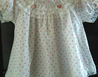 Viintage white cotton baby dress 12 mos