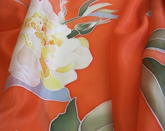 Long silk scarf hand painted botanical wearable art - ready to ship