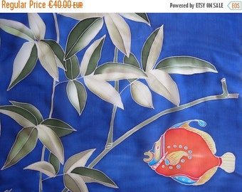 SALE RESERVED. Blue silk scarf hand painted Red fish Botanical Funny gift - ready to ship