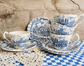 """Vintage 4 Small COFFEE CUP and SAUCERS, Blue Transfer Ware. English Iron Stone, Pattern """"Royal Mail"""" Stamped Myott, Fine Staffordshire Ware"""