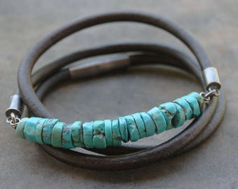 Trendy Mens Bracelet: Turquoise Leather sterling silver mens jewelry third anniversary gift for men, boyfriend gift, father gift