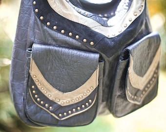 Brown Leather handbag - dragon design