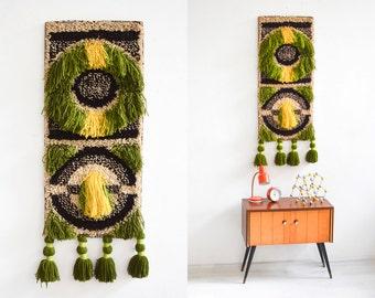 70s fiber art, wall hanging 70s, wall tapestry gobelin 70s 60s Ref: 601