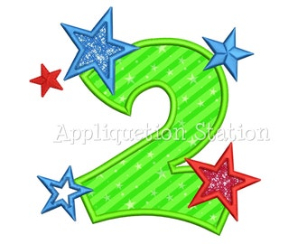 Boys Star Number 2 Birthday Applique Machine Embroidery Design two 2nd second INSTANT DOWNLOAD