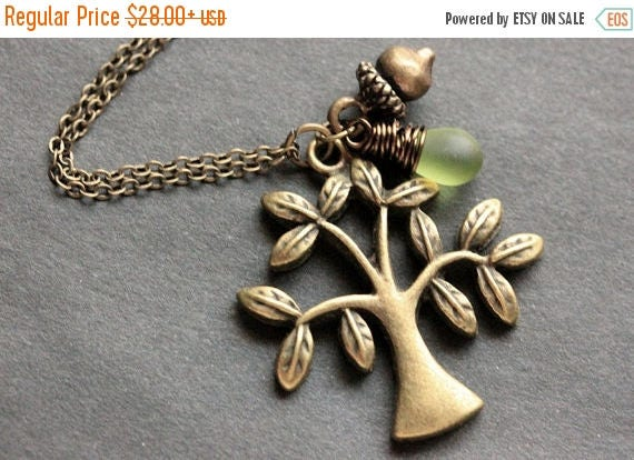 MOTHERS DAY SALE Tree Necklace. Bronze Tree and Acorn Charm Necklace with Wire Wrapped Teardrop. Handmade Jewelry.