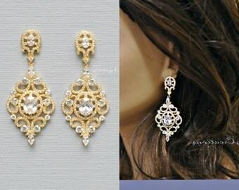 Chandelier earrings, Wedding earrings, Wedding jewelry, CZ earrings, Wedding accessories, Bridesmaid