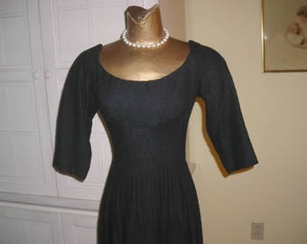 """50's black wool princess style dress, sweetheart neckline, 3/4 sleeves, Montaldo's, great """"little black dress"""""""