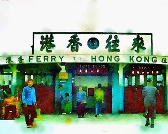 Watercolor Print - HongKong Ferry Terminal