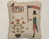 Completed Ready to Ship Primitive Patriotic Cross Stitch Uncle Sam Pinkeep Tuck