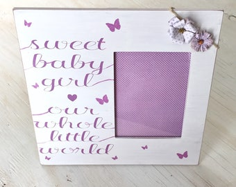 Sweet Baby Girl Pink and White Frame - Nursery Frame - Baby Shower Gift - Painted Wood Frame - Baby Girl Frame - Personalized Photo Frame