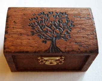 Wedding Box, Ring Bearer Box, Hand Burned Tree of Life Box, Monogram Date Wooden Box Rustic Wedding Couple Ring Box