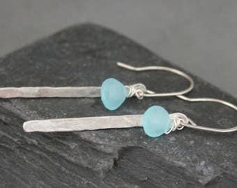 Chalcedony Earrings, Blue Chalcedony, Hammered Silver, Sterling Silver Bar Earring, Gemstone Dangle Earrings, Silver Wire Wrapped Gemstones