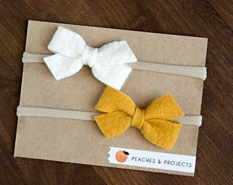 White, Mustard Yellow Wool Felt bows on Nylon Headbands, Set of Two, Bow Hair Baby Toddler Accessory