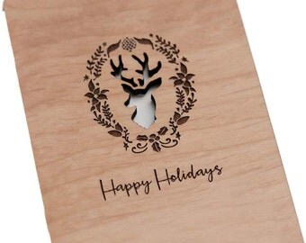 Happy Holiday with Deer Laser-Cut and Etched on Wood Card