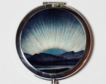 Northern Lights Compact Mirror - Celestial Astronomy Stars Art - Make Up Pocket Mirror for Cosmetics