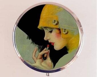 Flapper Lipstick Pill Box Case Pillbox Holder Trinket Stash Box Art Deco Jazz Age Roaring 1920s