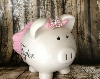 LARGE Personalized pink piggy bank girl, piggy Bank with crown and tutu,Dancer bank,Ballet bank, baby's first bank, baby shower gift