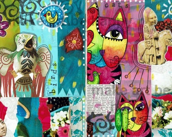 3 A4 collage sheets, journal pages, collage material, digital download, for direct use