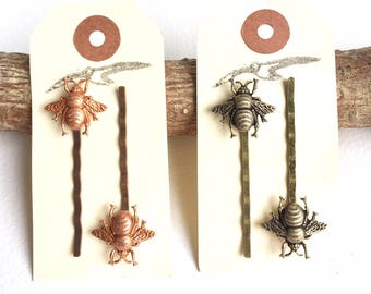 Honey Bee Hair Clips Bobby Pins in Rose Gold and Antique Brass Finishes