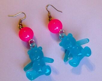 Kawaii Pop - Teddy Bear and Bright Translucent Bead Earrings - Blue Bears