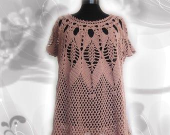 Hand Crocheted Lace tunic, Crochet Top Tunic, Boho Tunic Beach Party,Boho Chic,Cover Up, Women Fashion,cotton tunic,Off Shoulder Sweater