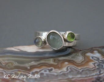 Two sterling silver stacking rings with peridot, aquamarine and moonstone and hammered bands - silversmith