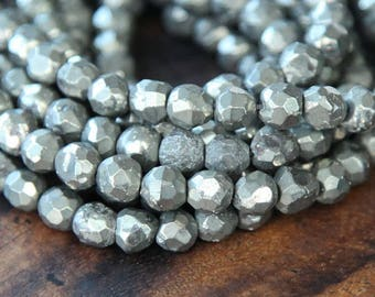 Pyrite Beads, 4mm Faceted Round- 15 inch strand - eGF-PY001-4