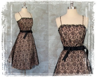 Vintage Black Lace Dress, Party Dress, Cocktail Dress, Evening Dress, Petticoat Dress, Eyelash Dress, Prom Dress, Small