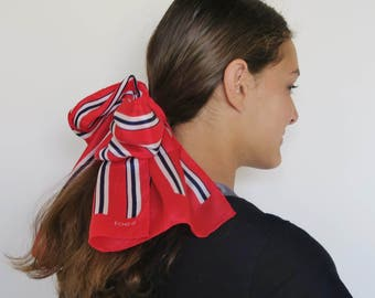 Red white and blue silk scarf, long silk scarf, striped scarves, skinny stripe scarf, patriotic scarf, oblong scarf, silk hair wrap