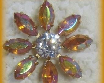 Topaz AB 36MM Multi 9 Stone Rhinestone Navette Chaton Brass Flower Pendant