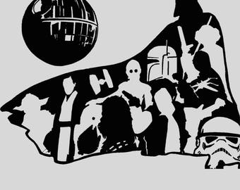 "Star Wars - 12"" x 9"" - Original Linoleum Block Printed Shirt"