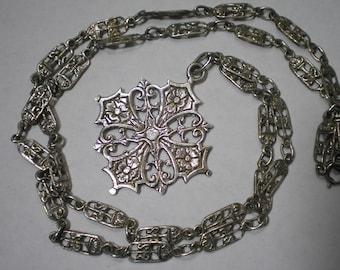 Vintage 800 Silver Coppini Maltese Cross Pendant Chain 26 Inches