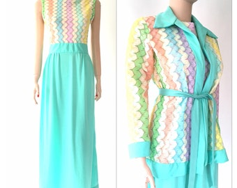 Pastels knit top maxi | matching jacket | vintage 60s | Easter Sunday dress | size small