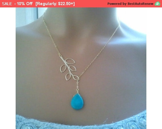 Leaves with turquoise Lariat Necklace - bridesmaid gifts, turquoise pendantMother's Day Gift, cocktail jewelry