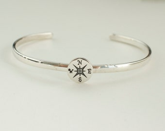 Compass cuff bracelet - compass sterling bracelet - unisex cuff bracelet - handmade cuff bracelet - 925 solid sterling silver -