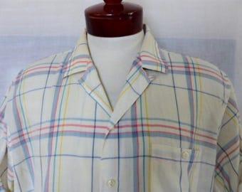 vintage 80's Mervyn's Men's Collection white pastel rainbow plaid multicolor pink blue green short sleeve collar camp shirt oversized XL