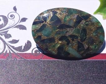 Emerald mosaic quartz designer oval cabochon with copper,pick a size