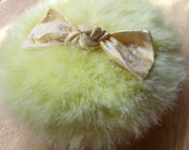 LAST One - Marabou Feather Powder PUFF (large size)  Soft  YELLOW with Silk Brocade Bow - Ready to Ship