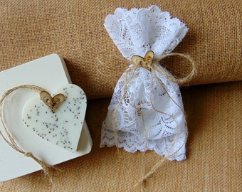 Heart Soap Favors, Rustic soap favor, Wedding favor sample, Heart Wedding Favors