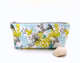 Bird print fabric zipper bag, white zipper pouch, fabric cosmetic bag, storage pouch, organizer bag, small zipper bag, yellow pouch