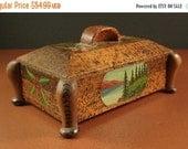 ON SALE Handpainted Folk Art Pyro Burned Jewelry Dresser Box // Valet Trinket // CCC Camp Era // from Successionary