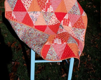 Modern Baby Girl Triangle Quilt