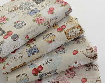 Afternoon Tea- Vintage Linen Cotton Fabric Rose Strawberry Snacks, Bag Upholstery Fabric - 1/2 Yard