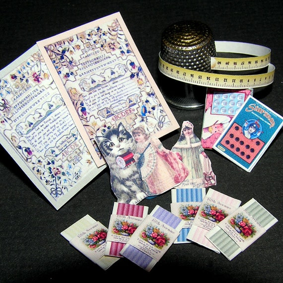 Paper minis, haberdashery, craft Kit from paper in miniature for the Doll House, Doll House, dollhouse miniatures