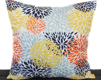 Pillow, Throw Pillow, Pillow Cover, Cushion, Decorative Pillow, orange yellow navy blue white, Monarch, Mimosa, Indigo, Spa, Blooms Maya